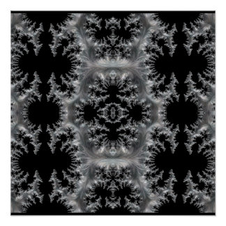 Delicate Silver Filigree on Black Fractal Abstract Poster