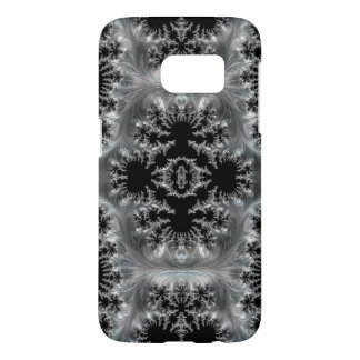 Delicate Silver Filigree on Black Fractal Abstract Samsung Galaxy S7 Case