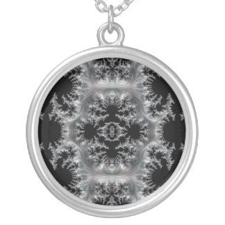 Delicate Silver Filigree on Black Fractal Abstract Silver Plated Necklace