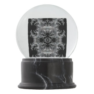 Delicate Silver Filigree on Black Fractal Abstract Snow Globe
