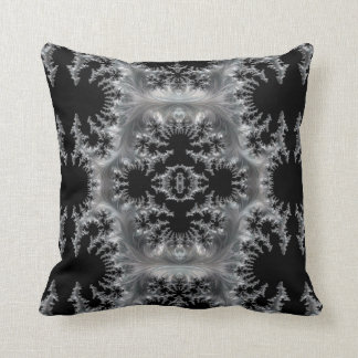 Delicate Silver Filigree on Black Fractal Abstract Throw Pillow