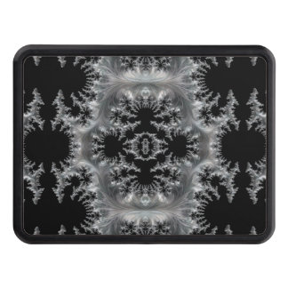 Delicate Silver Filigree on Black Fractal Abstract Trailer Hitch Cover