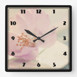 Delicate Soft Pink Cherry Blossom Flower Square Wall Clock