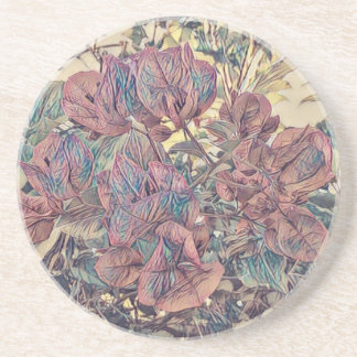 Delicate Stylised Bougainvillea Coaster