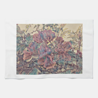 Delicate Stylised Bougainvillea Kitchen Towel
