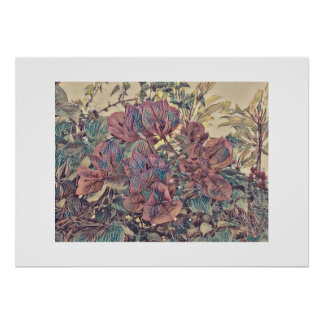 Delicate Stylised Bougainvillea Poster