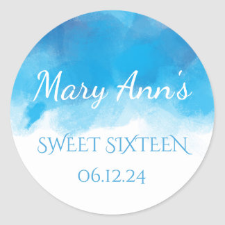 Delicate Sweet 16 Summer Blue Watercolor Classic Round Sticker