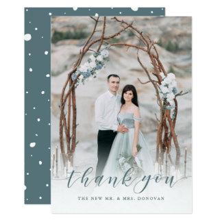 Delicate Thanks | Muted Blue Wedding Photo Card