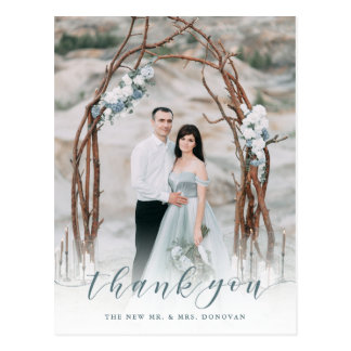 Delicate Thanks   Muted Blue Wedding Photo Postcard