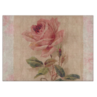 Delicate Victorian Pink Rose Cutting Board