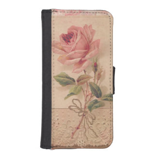 Delicate Victorian Pink Rose iPhone SE/5/5s Wallet Case