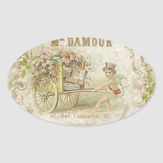 Delicate Vintage French Art Print Oval Sticker
