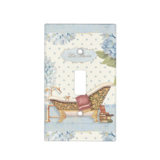 "Delicate Vintage French ""Le Bain"" Bathroom Decor Light Switch Cover"
