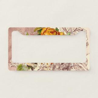 Delicate Vintage Roses Art Licence Plate Frame