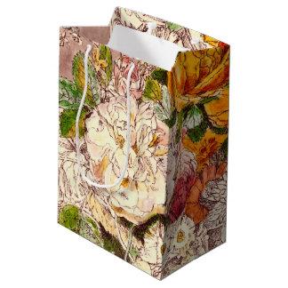 Delicate Vintage Roses Art Medium Gift Bag