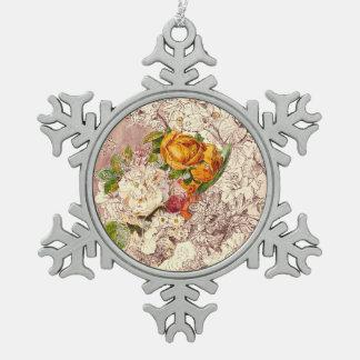 Delicate Vintage Roses Art Pewter Snowflake Ornament