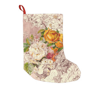 Delicate Vintage Roses Art Small Christmas Stocking