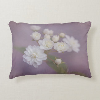 Delicate White Flowers with Purple Background Accent Pillow