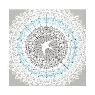 Delicate White Lace Mandala Design Canvas Print