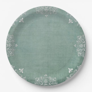 Delicate White Lace on Aqua Shabby Chic Paperplate Paper Plate