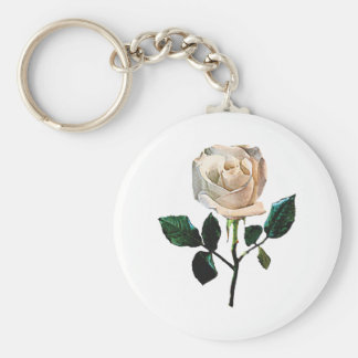 Delicate White Rose Keychain