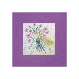 Delicate wildflowers with ribbon canvas print