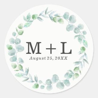 Delicate Wreath | Wedding Monogram Sticker