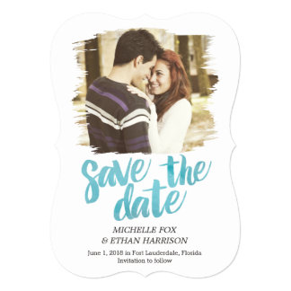 Delicately Revealed Save The Date Card Turquoise