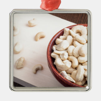 Delicious and healthy raw cashew nuts Silver-Colored square ornament