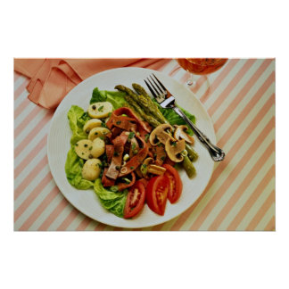 Delicious Beef vegetable salad , fork Poster