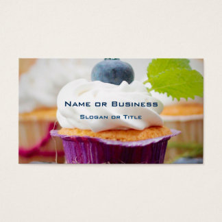 Delicious Blueberry Cupcake with Whipped Cream Business Card