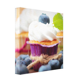 Delicious Blueberry Cupcake with Whipped Cream Canvas Print