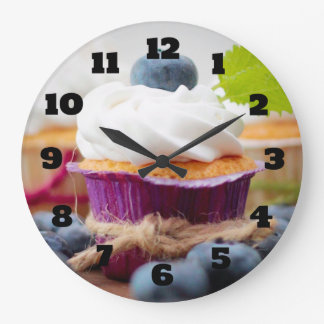 Delicious Blueberry Cupcake with Whipped Cream Clock