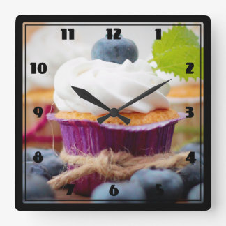 Delicious Blueberry Cupcake with Whipped Cream Square Wallclock