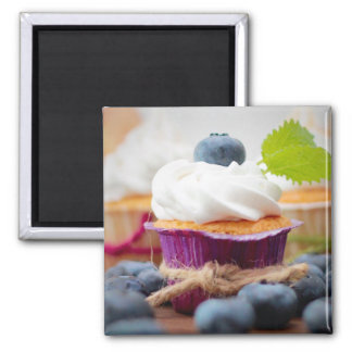 Delicious Blueberry Cupcake with Whipped Cream 2 Inch Square Magnet