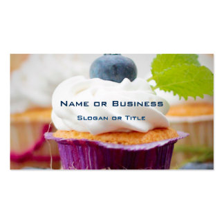 Delicious Blueberry Cupcake with Whipped Cream Pack Of Standard Business Cards