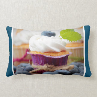Delicious Blueberry Cupcake with Whipped Cream Throw Pillows