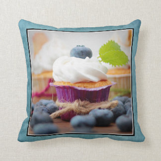 Delicious Blueberry Cupcake with Whipped Cream Pillows