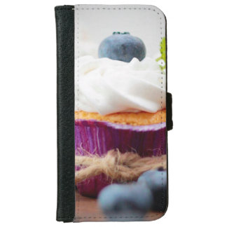 Delicious Blueberry Cupcake with Whipped Cream iPhone 6 Wallet Case