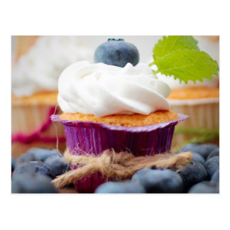 Delicious Blueberry Cupcake with Whipped Cream Postcard