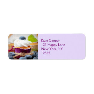 Delicious Blueberry Cupcake with Whipped Cream Return Address Label