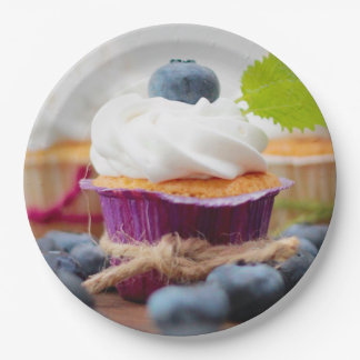 Delicious Blueberry Cupcake with Whipped Cream 9 Inch Paper Plate