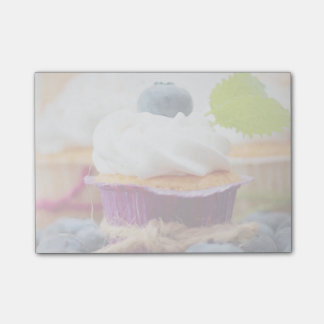 Delicious Blueberry Cupcake with Whipped Cream Sticky Notes