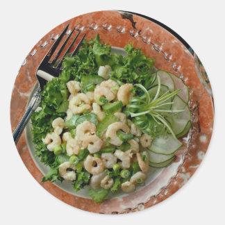 Delicious Celery, shrimp salad , fork Classic Round Sticker