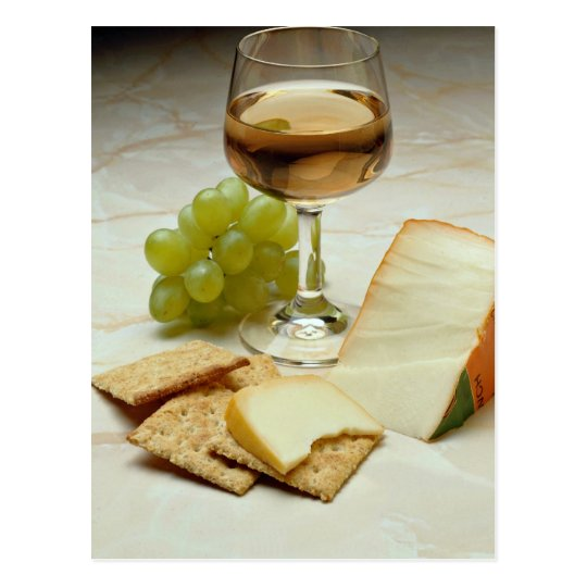 Delicious Cheese, crackers and wine glass Postcard