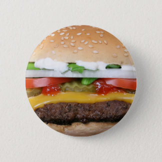 delicious cheeseburger with pickles photograph 2 inch round button
