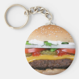delicious cheeseburger with pickles photograph basic round button keychain