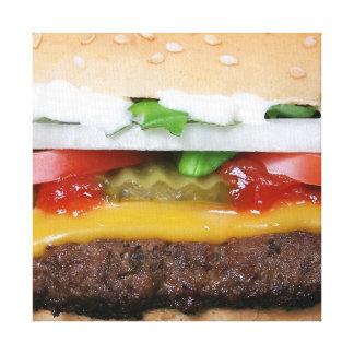 delicious cheeseburger with pickles photograph canvas print