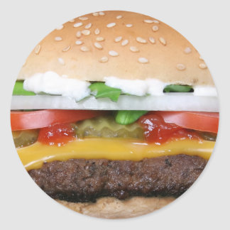 delicious cheeseburger with pickles photograph classic round sticker