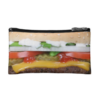delicious cheeseburger with pickles photograph cosmetic bags